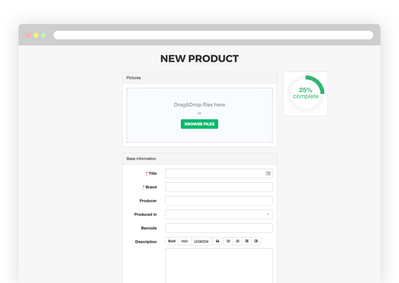Product form screen